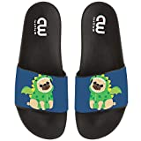 Cute Pug With Dragon Costume Summer Slide Slippers For Girl Boy Kid Non-Slip House Sandal Shoes size 2