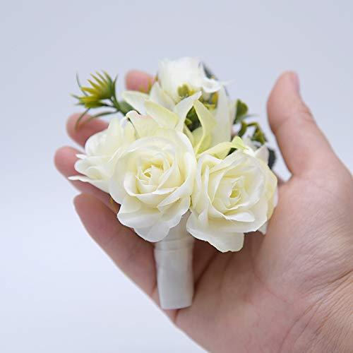 White Cupcinu Artificial Flower Brooch Wedding Corsage Bride and Groom Boutonniere for The Wedding Party Ribbon Party Prom 9cm*12cm Cloth
