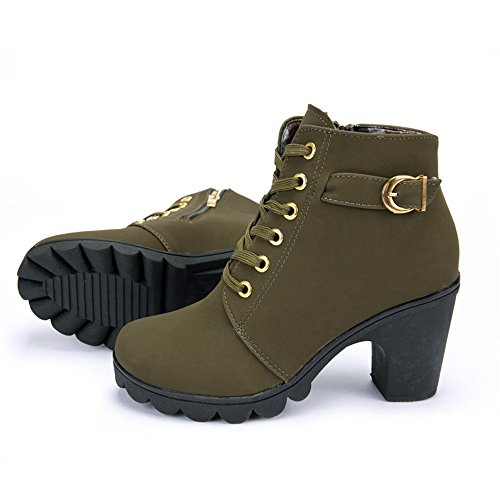 Himenqiaoz Martin Boots Woman Ankle Boots New Lace-up Ladies Highs Army Green - Com Debenhams Ireland