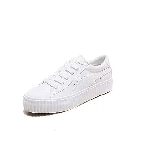 Zapatillas Planas para Mujer Zapatos atléticos Ocasionales Cómodo Zapatillas Deportivas Negras/Blancas Talla 35-