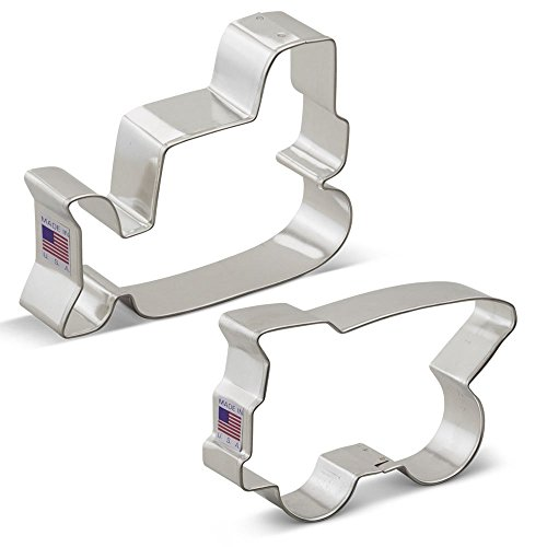 Ann Clark Construction Vehicles Cookie Cutter Set - 2 Piece - Bulldozer and Dump Truck - Tin Plated -