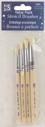 Loew-Cornell Bristle Stencil Brush Set, Size 1, 2, 3, 4 (4401)