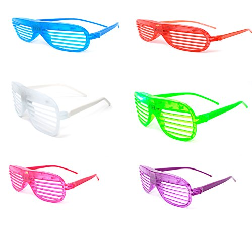 2 x Flashing Retro LED Shutter Style Glasses Slotted for Adults and Kids Parties Party Events Raves Dance Clubs and Costume Parties (Rave Costumes Uk)