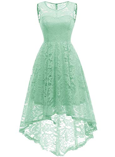 (MuaDress 6006 Vintage Floral Lace Sleeveless Hi-Lo Cocktail Formal Swing Dress XL Mint)