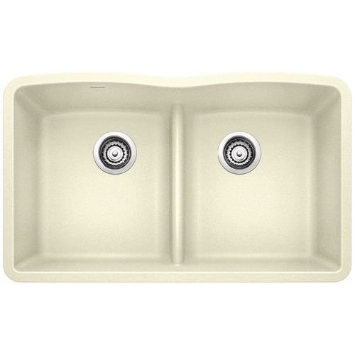 Blanco Diamond 442076 Equal Bowl SILGRANIT 80% Granite Double Kitchen Sink Low Divide, Biscuit ()