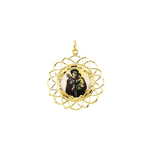 10kt Yellow 26mm St. Anthony Framed Enamel Pendant
