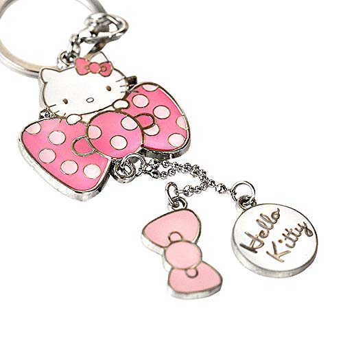 (Z70_B New Adorable Hot Pink Style Bow Hello Kitty Charms Keychain Key Ring)