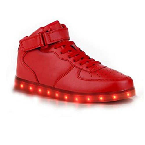 [Present:small towel]JUNGLEST® 8 Colors LED Light-Up Couple Womens Mens Sport Shoes Sneakers USB Charging for Valentines Day Ch Red High Top with Velcro bBtcszvVi