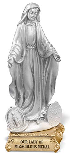 Woodington's Our Lady of Grace 4 Inch Pewter Statue (Miraculous Medal Statue)