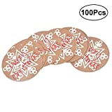 SUPVOX 100pcs Christmas Kraft Paper Gift Tags Wedding Hanging Tag Birthday Party Favour Tags (Round Snow Pattern)