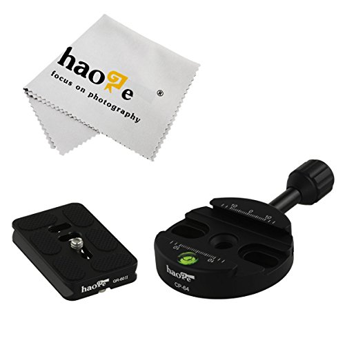 (Haoge 64mm Screw Knob Clamp Adapter with 60mm QR Quick Release Plate for Camera Tripod Ballhead Monopod Ball Head Fit Arca Swiss)