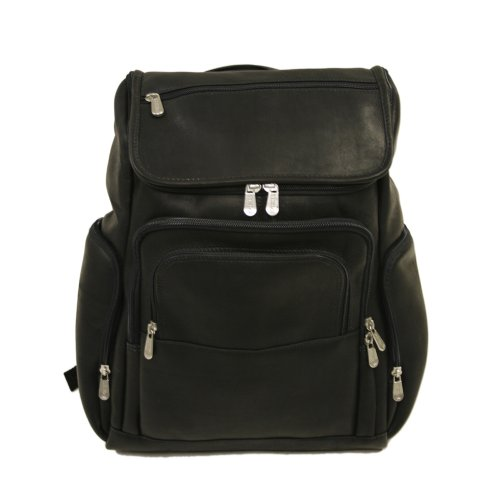 (Piel Leather Multi-Pocket Laptop Backpack, Black, One Size)