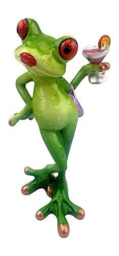 Novelty Frog Figurine - Lady Frog Holding a Cocktail