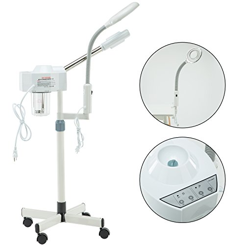 Spa Beauty 2 in 1 Ozone Facial Steamer with Magnifying Lamp 5 Diopter Professional Hot Facial Ozone Steamer for Facials Salon Spa Beauty Equipment for face on wheels-Diffuser Salon