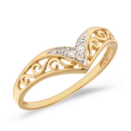 10K Yellow Gold Filigree Band Diamond Chevron Ring (Size 7)