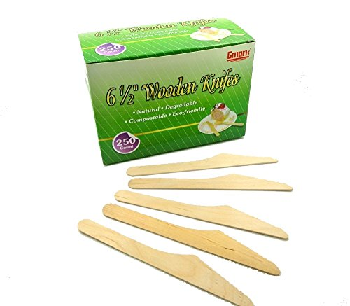 "Gmark 250 ct Wooden Knives 6.25"" Length, Paper Box Package - No Plastic Earth-Friendly, Disposable Biodegradable Wooden Cutlery, Green Product (Box of 250pcs) GM1008"