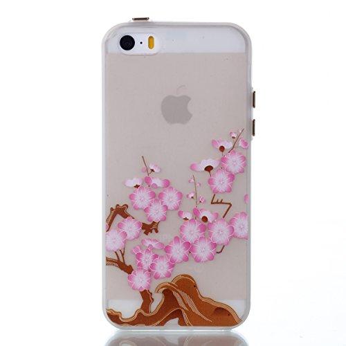 Voguecase Für Apple iPhone SE 5 5S 5G hülle, Schutzhülle / Case / Cover / Hülle / TPU Gel Skin mit Nachtleuchtende Funktion (Pflaumen 20) + Gratis Universal Eingabestift