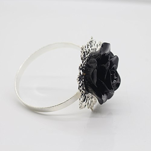 AngHui ShiPin 10pcs Black Rose Decorative Silver Napkin Ring Serviette Holder for Wedding Party Dinner Table Decor Many Color Available for Christmas Table by AngHui (Image #2)