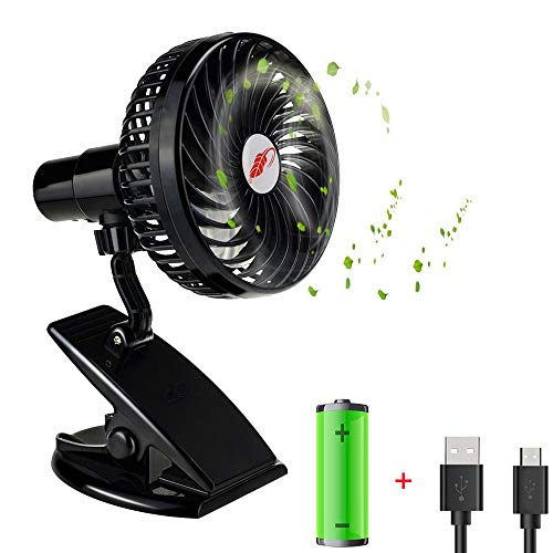 WINDFIRE Clip-on Stroller Fan, Mini Desk Fan, Personal Handheld Fan,USB Rechargeable Silent 4 Blades Fan,360°Adjustable Wind,3 Speeds Setting,Powered by USB or Rechargeable Battery, Indoor&Outdoor