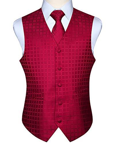 HISDERN Men's Solid Check Jacquard Waistcoat & Necktie and Pocket Square Vest Suit Set