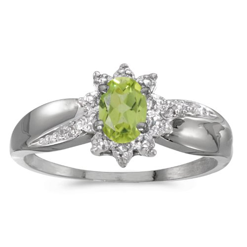 0.41 Carat ctw 10k Gold Oval Green Peridot Solitaire & Halo Diamond Fashion Swirl Cocktail Ring - White-gold, Size 6 ()
