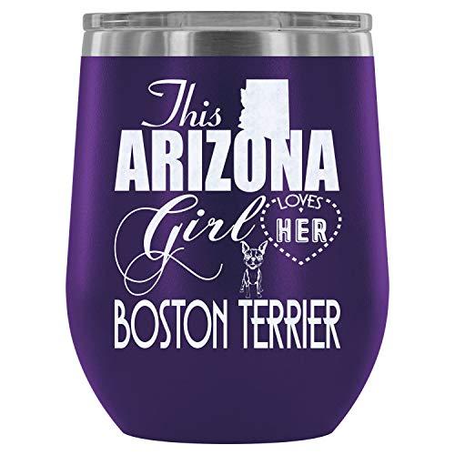 Steel Stemless Wine Glass Tumbler, I Love My Boston Terrier Wine Tumbler, Boston Terrier Vacuum Insulated Wine Tumbler (Wine Tumbler 12Oz - Purple)