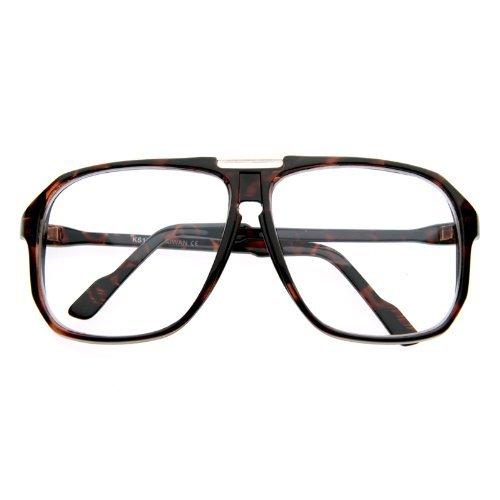 Zerouv   Square Shaped Plastic Aviator Clear Lens Glasses Eyewear With Metal Top Bridge  Tortoise