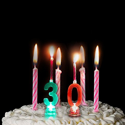 LOGUIDE Number Birthday Cake Candle Set - Color Changing LED Candle Celebration Candlestick 0-9 Molded Number Candles for Birthday Decoration (Number 30)