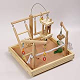 QBLEEV Parrot Wood Play Gym Playground for Traning, Bird Stand Perch Cage Playstand Natural Playgym Playpen Ladder Toy Exercise Decorative Play 13.7'' L12.6 W11 H