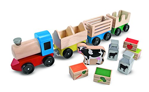 - Melissa & Doug Wooden Farm Train Set - Classic Wooden Toy (3 linking cars)