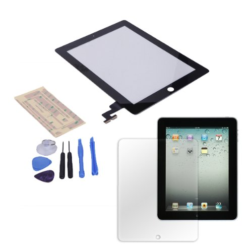 Price comparison product image HDE iPad 2 Digitizer Touch Screen Replacement Parts w / 7-Piece Tool Kit,  Adhesive Tape,  and Screen Protector (Black)