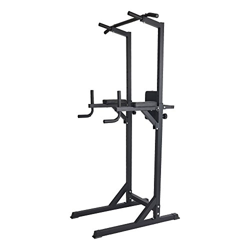 Lucky Tree Multi-Function Power Tower Full Body Workout Dip Station Strength Training Fitness Pull Up Rack for Home Gym