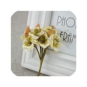 Tokyo Summer Artificial Flower 6Pcs/Lot DIY Wreath Wedding Box Decoration Simulation of Roses for Home Wedding Bride Wrist Decoration Flower,Milk White 64