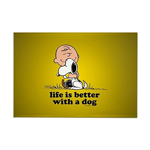 CafePress Charlie Brown And Snoopy - Life Is Better Magnets Rectangle Magnet, 2