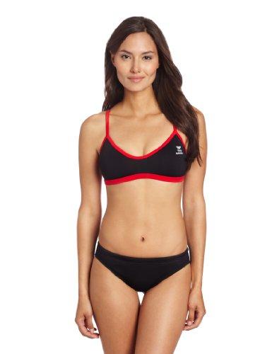 UPC 036702315135, TYR Women's Durafast Elite Solid Crosscutfit Workout Bikini, Black/Red, Medium