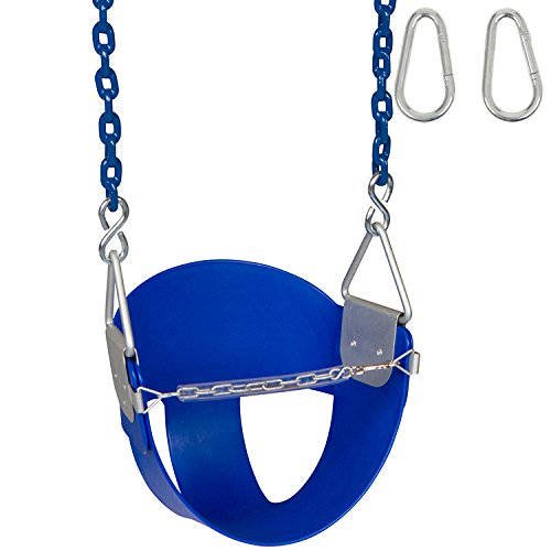 Swing Set Stuff Highback Half Bucket (Blue) with 5.5 Ft. Coated Chain and SSS Logo -