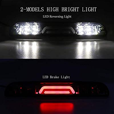 (Smoke) 3rd Brake Light for Ford F250 F350 Super Duty/Ranger/Explorer Sport/Mazda B-Series 3D Third Cargo Light LED Light Bar High Mount Lamp Stop Tail Light Chrome Housing: Automotive