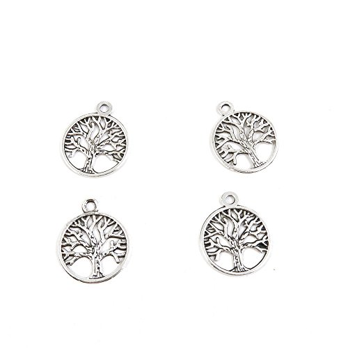 Les Charmes - Price per Lot 80 PCS Jewelry Making Charms Antique Silver Tone Color Jewellery Charme Findingss Bulk Wholesale Suppliers Arts Crafts D4OD3 Life String Tree Oak