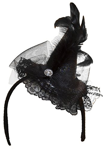 Silver Mini Witch Hat with Feathers, Bow & Faux Gem