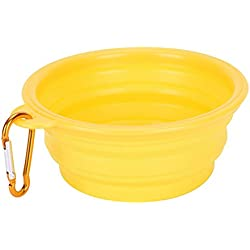 wonderflowers New Collapsible Pet Cat Dog Dish Water Feeder Silicone Travel Feeding Bowl Free Carabiner Yellow Color