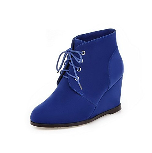 AmoonyFashion Womens Lace-Up Round Closed Toe High Heels Fabric Surface Low Top Boots Royalblue