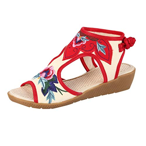 - VESNIBA LLC Women Sandals Wedges Fish-Mouth National Embroidered Slides Slippers