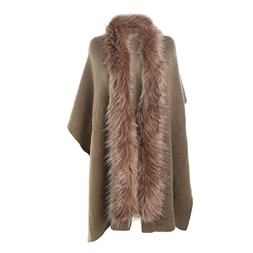 peacur womenWinter Warm Fashion Solid Color Long Thickening Fur Collar Cashmere Scarf Shawl