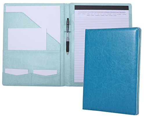 Portfolio Padfolio Resume Folder with Pocket, Premium Faux Leather Interview Writing Legal Pads Document Organizer Portfolio with Business Card Holder (Turquoise Teal Green)