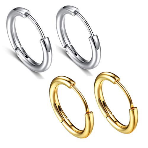 Calors Vitton 2 Pairs 316L Surgical Stainless Steel Cartilage Huggie Hoop Earring for Men Women Small Endless Hoops Silver&Gold 12mm ()