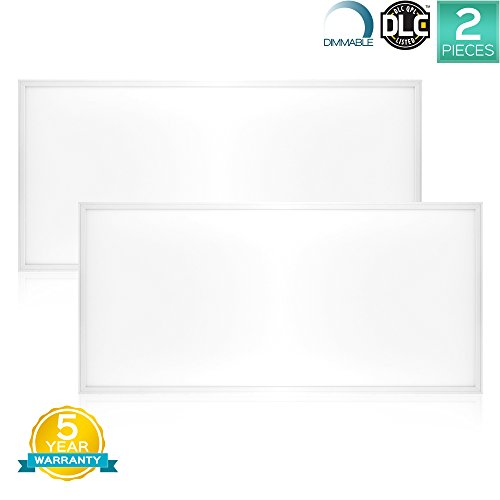 Luxrite LED Light Panel, 2×4 FT, 72W, 3000K Soft White, 7100 Lumens, 24×48 Inch LED Flat Panel, Dimmable, DLC Listed, UL Listed, Pack of 2 For Sale