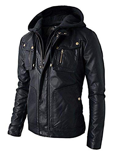T&I Texas Hooded Black Distressed Biker Leather Jacket Men with Detachable Hoodie
