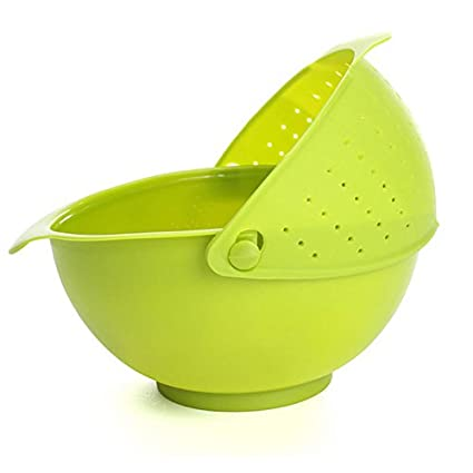 House Of Quirk New Wash The Rice Plastic Washing Vegetable Basket Fruit Basket Green