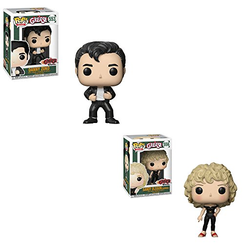 Funko POP! Movies Grease 40th Year Anniversary Edition: Danny Zuko Leather Jacket and Sandy Olsson Carnival Leather Outfit Toy Action Figure - 2 POP BUNDLE ()