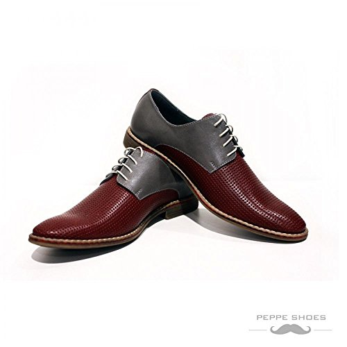 PeppeShoes Modello Bologna - Handmade Italiano da Uomo in Pelle Colorato Scarpe da Sera - Vacchetta Pelle Morbido - Allacciare